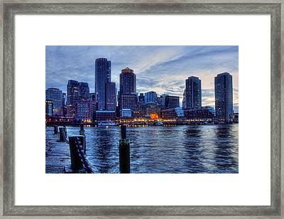 Blue Hour On Boston Harbor Framed Print