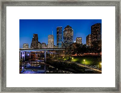 Blue Hour On Buffalo Bayou Framed Print by Dee Zunker
