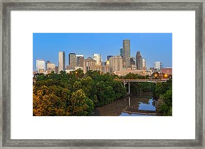 Blue Hour Panorama Of Downtown Houston Texas Framed Print by Silvio Ligutti