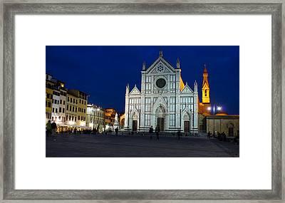 Blue Hour - Santa Croce Church Florence Italy Framed Print by Georgia Mizuleva