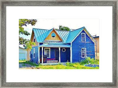 Blue House Framed Print by Larry Campbell