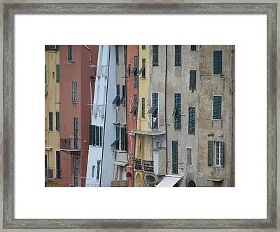 Framed Print featuring the photograph Blue House Portovenere Italy by Sally Ross