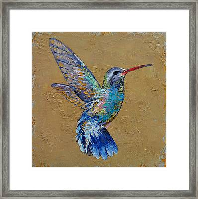 Turquoise Hummingbird Framed Print by Michael Creese