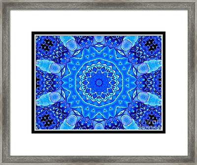 Blue Hydrangeas Flower Kaleidoscope Framed Print by Rose Santuci-Sofranko