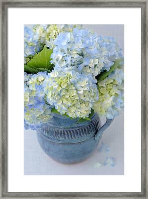 Blue Hydrangeas In Blue Pottery Framed Print by Dianne Sherrill