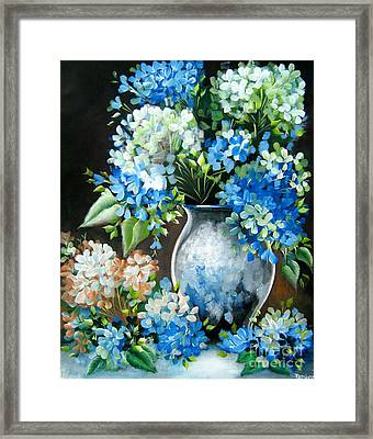 Framed Print featuring the painting Blue Hydrangeas by Patrice Torrillo
