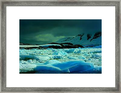 Framed Print featuring the photograph Blue Ice Flow by Amanda Stadther