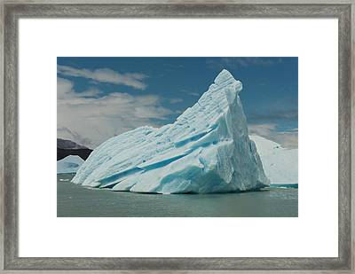 Blue Icebergs Seen On Lago, Los Framed Print by Howie Garber