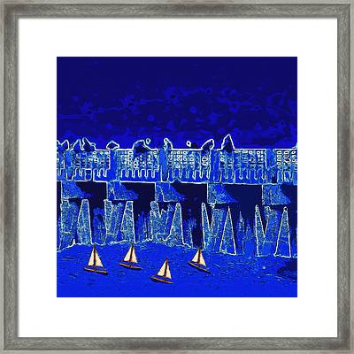 Framed Print featuring the painting Blue II Toy Sailboats In Lake Worth by David Mckinney