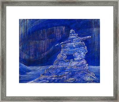 Framed Print featuring the painting Blue Inukshuk by Cathy Long