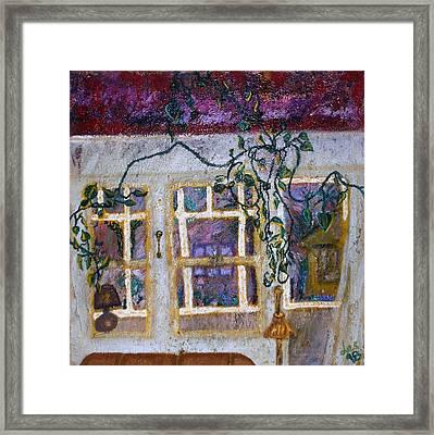 Framed Print featuring the painting Blue Ivy Venice Beach by Leslie Byrne