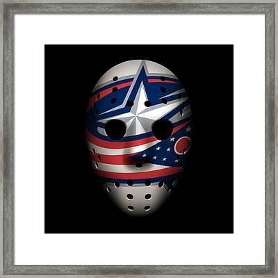 Blue Jackets Goalie Mask Framed Print by Joe Hamilton