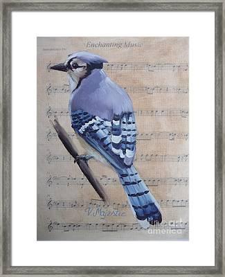 Blue Jay On Vintage Sheet Music Framed Print