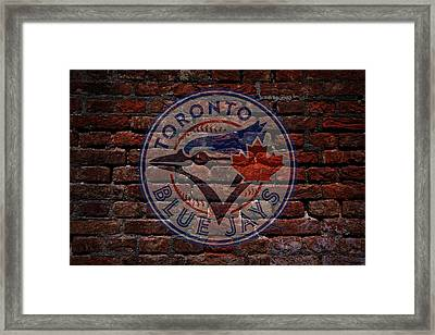 Blue Jays Baseball Graffiti On Brick  Framed Print