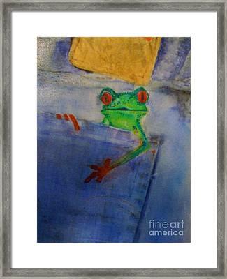 Blue Jean Frog Framed Print