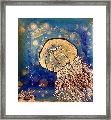 Blue Jellyfish Framed Print by Michaela Kraemer