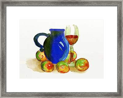 Blue Jug And Apples Framed Print