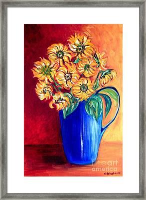 Blue Jug Yellow Flowers Framed Print by Caroline Street