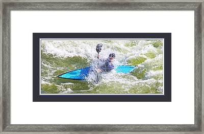 Blue Kayak At Great Falls Md Framed Print