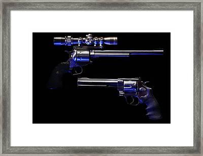 Blue Kissed Pistols Framed Print by David Andersen