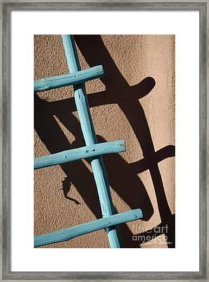 Blue Ladder And Shadow Framed Print by David Gordon
