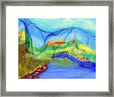 Blue Lake Silk Framed Print
