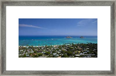 Blue Lanikai Overview Framed Print by Sean Davey
