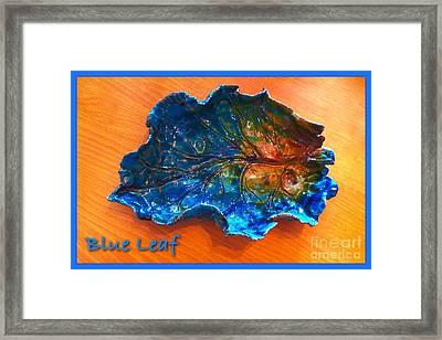 Blue Leaf Ceramic Design 3 Framed Print by Joan-Violet Stretch