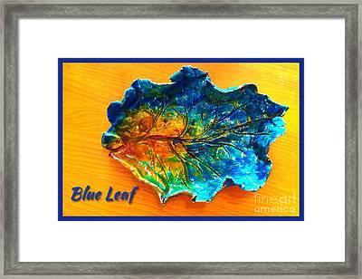 Blue Leaf Ceramic Design Framed Print by Joan-Violet Stretch