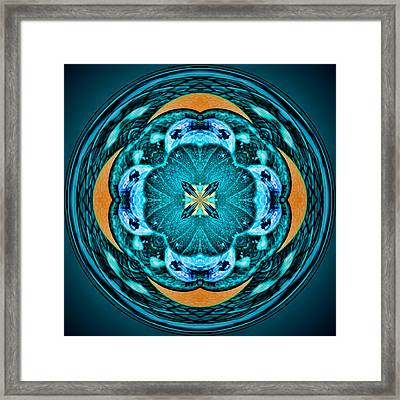 Blue Leaf Mandala Kaleidoscope Framed Print