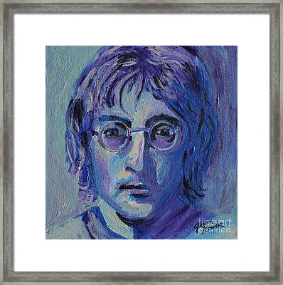 Framed Print featuring the painting Blue Lennon by Jeanne Forsythe
