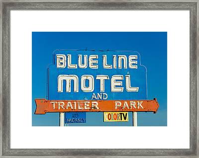 Blue Line Motel And Trailer Park Framed Print