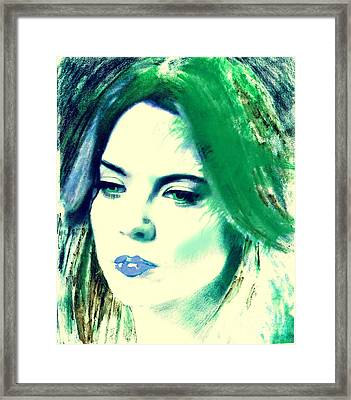 Blue Lips On Green Framed Print by Kim Prowse