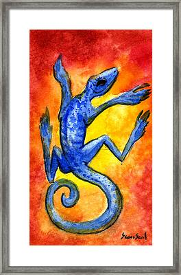 Blue Lizard Framed Print by Sean Seal
