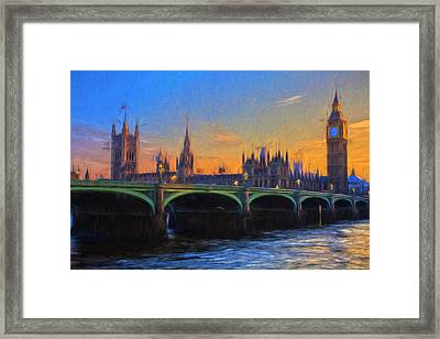 Framed Print featuring the painting Blue London by Douglas MooreZart
