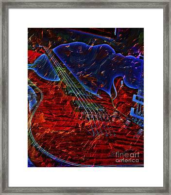 Blue Magic Digital Guitar Art By Steven Langston Framed Print by Steven Lebron Langston