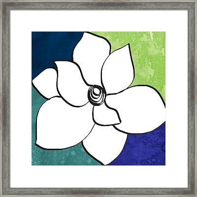 Blue Magnolia 2- Floral Art Framed Print