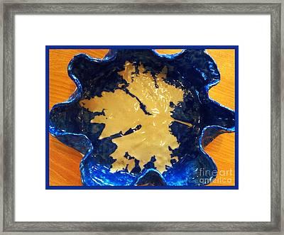 Blue Maple Leaf Dish Framed Print by Joan-Violet Stretch
