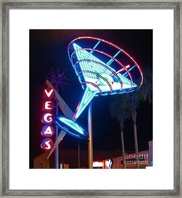 Blue Martini Glass Las Vegas Framed Print by John Malone