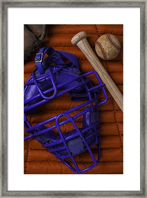 Blue Mask With Bat And Ball Framed Print by Garry Gay