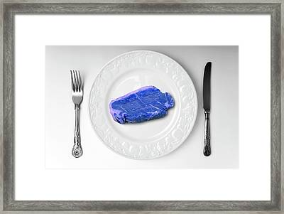 Blue Meat On White Plate Framed Print