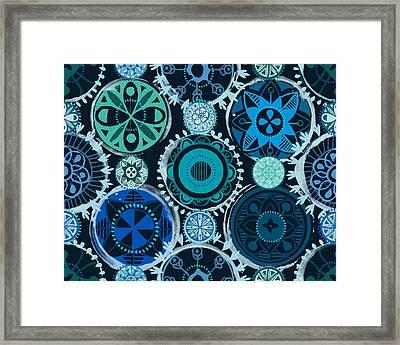 Blue Medallions  Framed Print