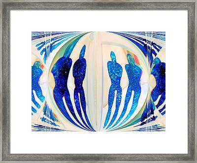 Blue Men Abstract Framed Print