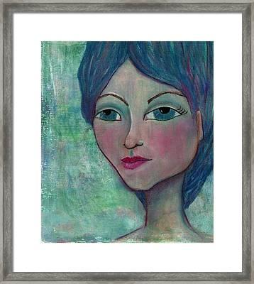 Blue Mermaid Girl Framed Print by Lisa Noneman