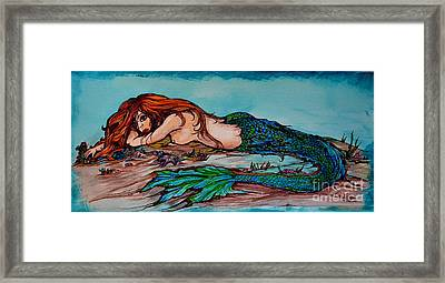 Blue Mermaid Framed Print by Valarie Pacheco