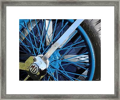 Blue Mg Wire Spoke Rim Framed Print by Mark Steven Burhart