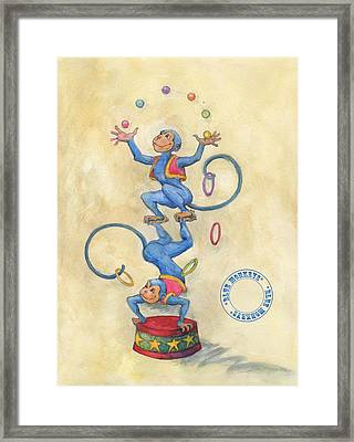 Framed Print featuring the painting Blue Monkeys by Lora Serra