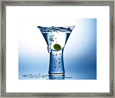 Blue Mood Martini Framed Print