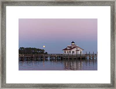 Blue Moon At Roanoke Marshes Lighthouse Framed Print by Gregg Southard