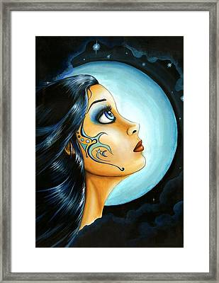 Blue Moon Goodess Framed Print by Elaina  Wagner